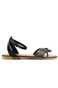 Sandal Black Leather Anthracite Laminated Suede