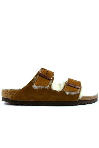 Arizona Honey Mink Suede Cream Sheepskin, BIRKENSTOCK