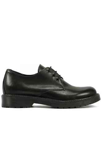 Lace-Up Black Leather Rubber Outsole, LATIKA
