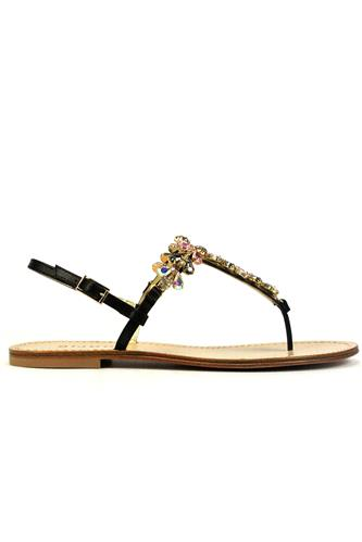 Thong Sandal Jewel Black Leather, BIJOU