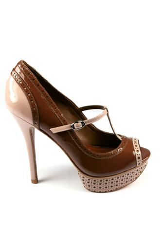 Open Toe Shoes Brown Liquor Cream, SCHUTZ