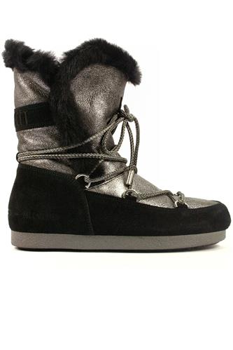Far Side High Shear. Silver Sheepskin Black Seude, MOON BOOT the original