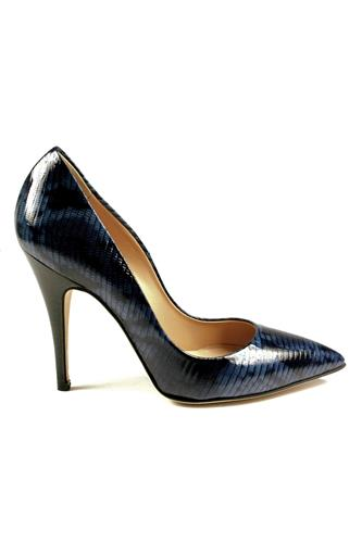 Decollete Printed Leather Blue Black, GIBELLIERI