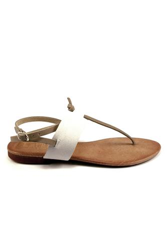 Sandal Suede White Leather, LATIKA