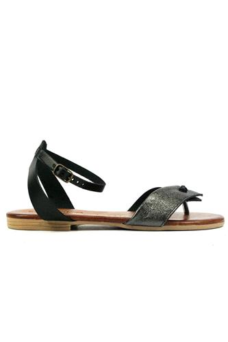 Sandal Black Leather Anthracite Laminated Suede, LATIKA