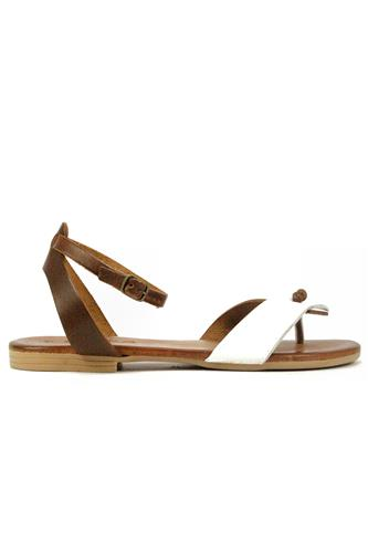 Sandal Brown White Leather, LATIKA