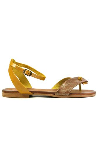 Sandal Yellow Leather Laminated Suede, LATIKA