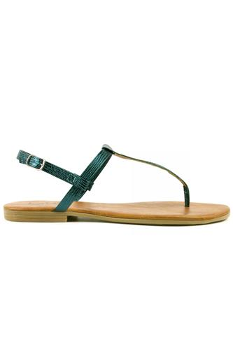 Sandal Thong Blue Sea Laminated Leather, LATIKA