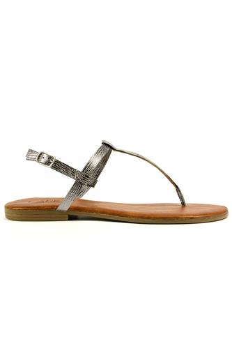 Thong Sandal Steel Laminated Leather, LATIKA