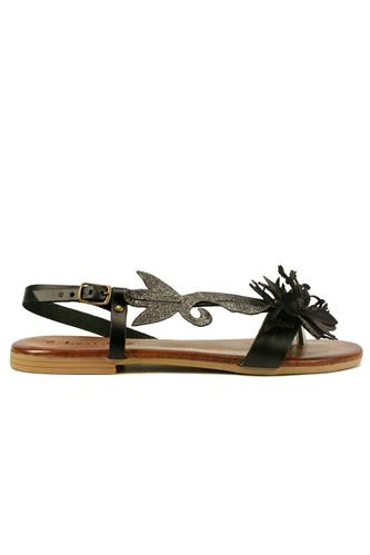 Sandal Black Leather Steel Laminate Flower, LATIKA