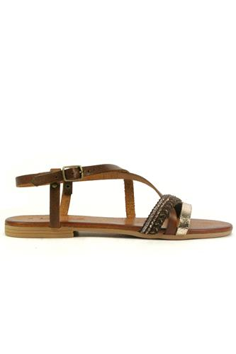 Sandal Brown Leather Platinum Laminate Cordura, LATIKA