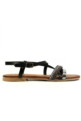 Sandal Black Leather Anthracite Laminate Cordura, LATIKA