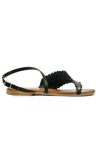 Sandal Black Leather Titanium Laminate, LATIKA