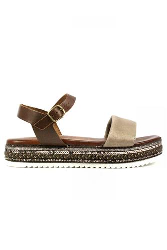 Rope Sandal Brown Leather Laminate, LATIKA