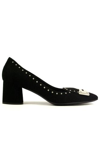 Decollete Black Suede Ornamental Studs, BRUGLIA
