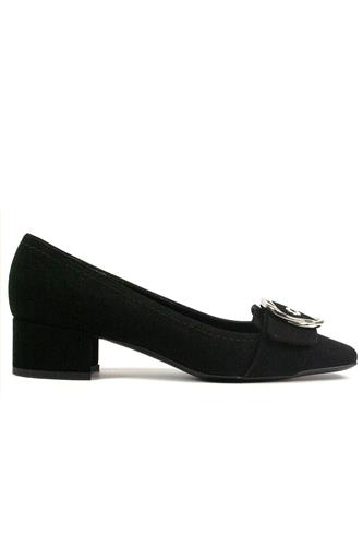 Shoes Black Suede Ornamental Buckle, BRUGLIA