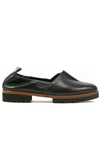 Moccasin Elastic Profile Black Leather Naplak, BRUGLIA