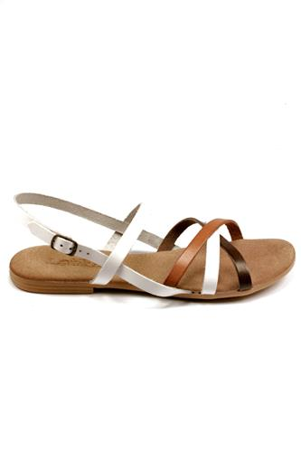 Sandal White Brown Leather, LATIKA