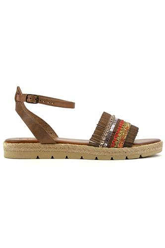 Rope Sandal Taupe Fringes Glitter Paillettes Pearls, LATIKA