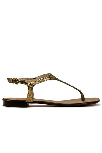 Thong Sandal Gold Laminated Cracklè, BOTTEGA DELL'ARTIGIANO