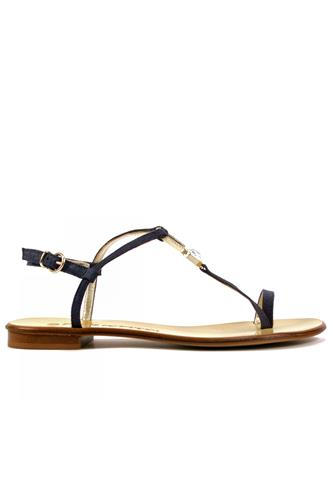 Thong Sandal Blue Laminated Suede Jewel, BOTTEGA DELL'ARTIGIANO