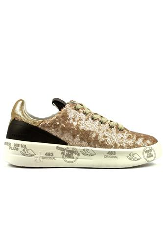Belle Gold Paillettes Lminated Suede Black Leather, PREMIATA