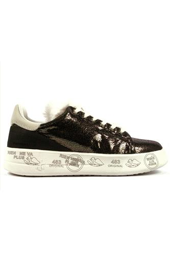 Belle Anthracite Laminated Leather White Fur, PREMIATA