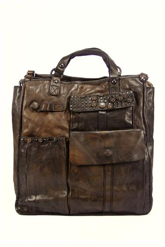 CAMPOMAGGILeather Work Bag Brown Diamond Strass