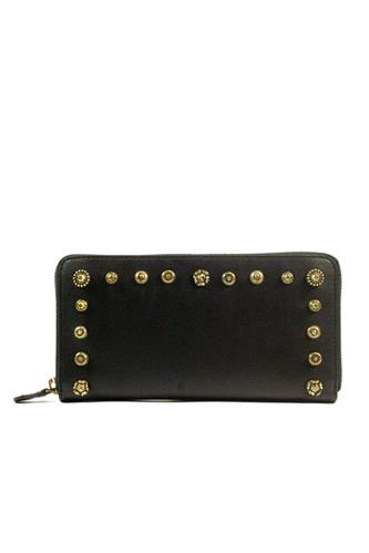 CAMPOMAGGIWallet Black Leather Gold Studs