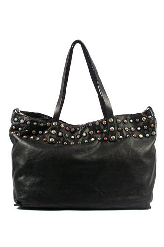 Shopping Bag Black Leather Ravenna Studs