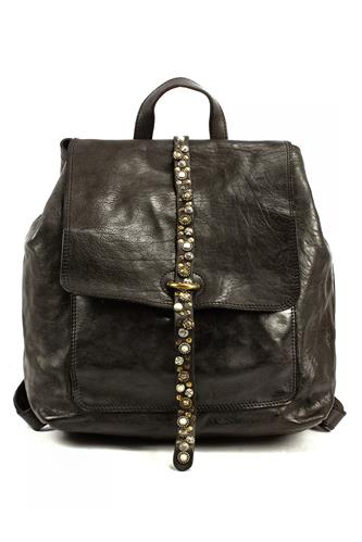 Backpack Cefalù Grey Leather Flower Studs