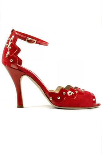 MINA BUENOS AIRESClaire Red Suede Patent Leather Studs