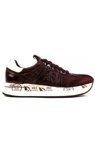 Conny Bordeaux Nylon Black Leather, PREMIATA
