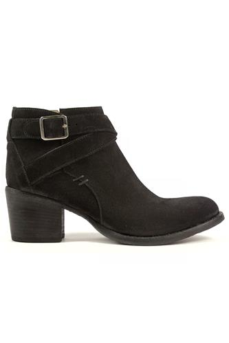 Low Buckle Boot Black Milano Suede, DUCCIO DEL DUCA