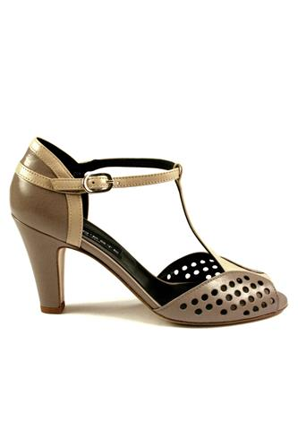 High Heels Shoes Beige Taupe Nappa Leather, GAIA D'ESTE