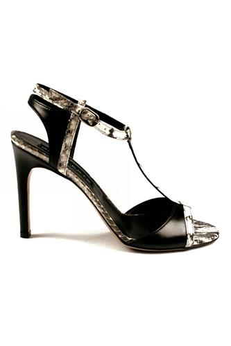 Sandal T-style Black Rock Leather, GAIA D'ESTE
