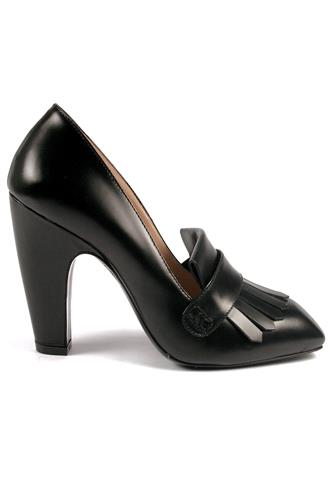 High Heel Shoes Fringe Black Leather, GAIA D'ESTE