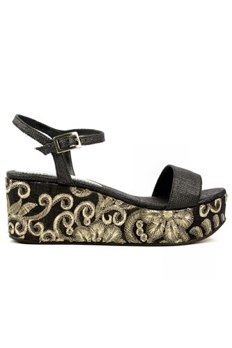 MINA BUENOS AIRESEma Black Raffia Embroidered Cork