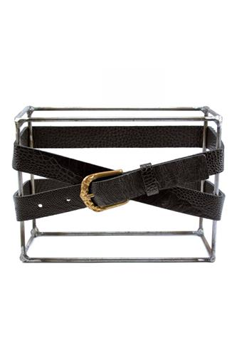 SCUNZANI IVOBelts Ostrich Black Leather Gold Buckle