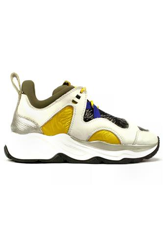 Lamaxi White Leather Yellow Black Nylon, FABI
