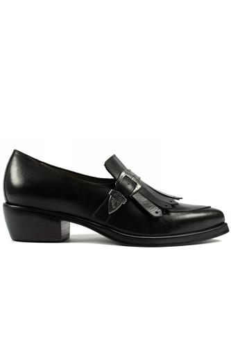 Fringe Moccasin Toledo Black Leather, LENA MILOS