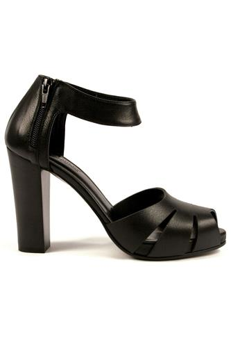 Plateau Sandal Rodi Black Leather, LENA MILOS