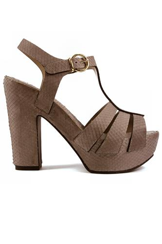 Plateau Sandal Grey Africa Byte Leather, LENA MILOS
