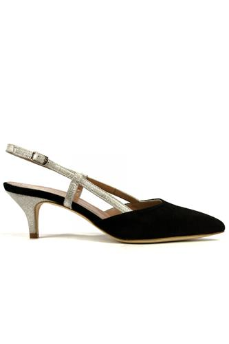 Laura Black Suede Silver Laminate, CHEVILLE