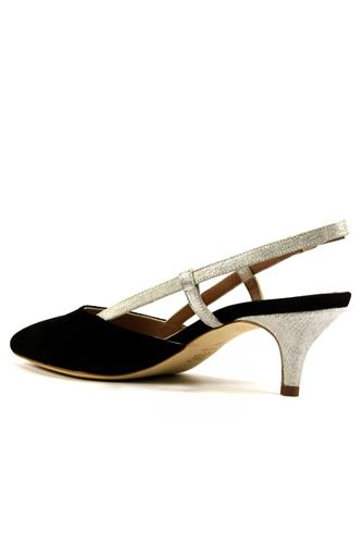 Laura Black Suede Silver Laminate