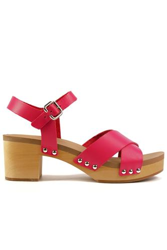 Wood Sandal Forlì Fuxia Gerbera Leather, MOOD