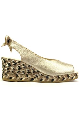 Rasim Odin Silver Metallic Leather Bow, ESPADRILLES