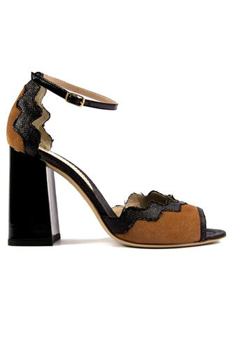 Sally Black Rafia Patent Almond Suede, MINA BUENOS AIRES
