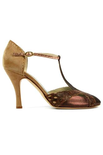 Viola Choccolate Satin Rum Leather Sand Suede, MINA BUENOS AIRES